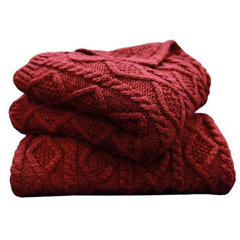 TR5002-OS-RD: HEA Cable Knit Throw 50x60 - Red