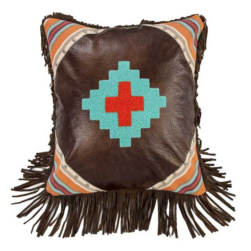 WS1753P11: HEA Embroidered Aztec Design Pillow Faux Leather 18x18
