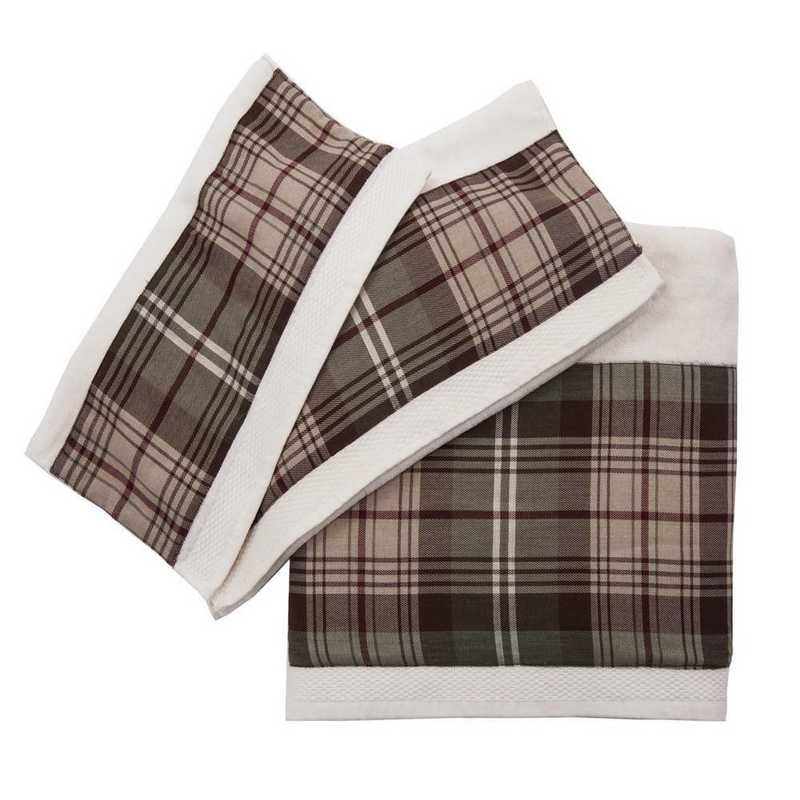 TL1733-OS-CR: HEA 3pc Forest Pines Plaid Towel Set - Cream