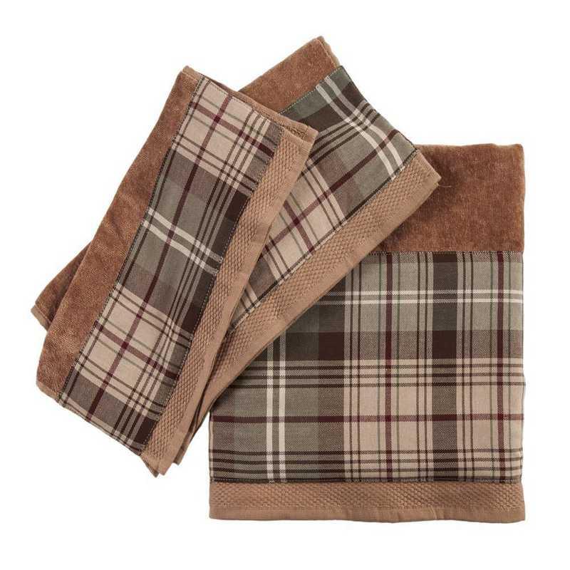 TL1733-OS-MC: HEA 3pc Forest Pines Plaid Towel Set - Mocha