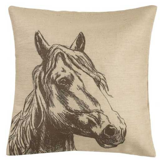 PL1806: HEA Burlap Horse Head Pillow - 22x22