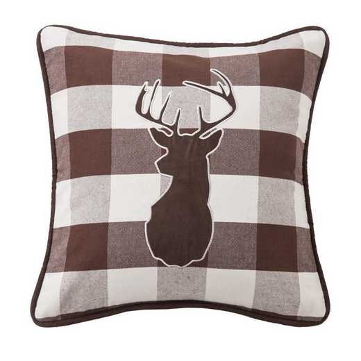 NL1731P2: HEA Huntsman Deer on Buffalo Linen Pillow 18x18
