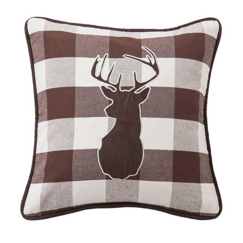 NL1731P2: HEA Huntsman Deer on Buffalo Linen Pillow 18x18