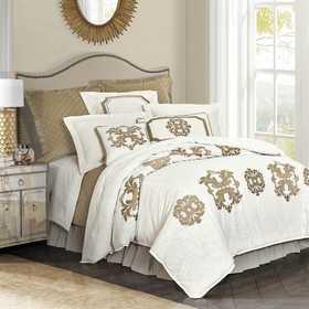 FB1755DU-SQ-OM: HEA Madison Linen Duvet with Velvet Embroidery - Queen