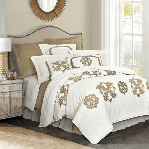 FB1755DU-SQ-OM: HEA Madison Linen Duvet with Velvet Embroidery - Queen
