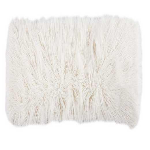 PL5003-LS-WH: HEA Mongolian Faux Fur Pillow - 14x16