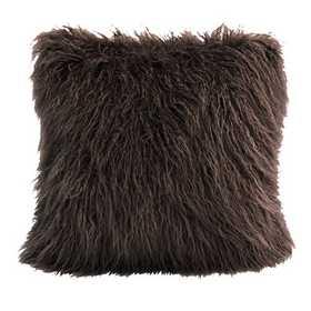PL5003-OS-CH: HEA Mangolian Faux Fur Pillow - 18x18 Chocolate
