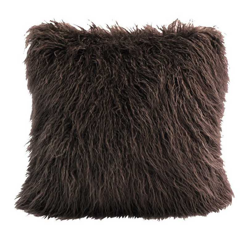PL5003-OS-CH: HEA Mangolian Faux Fur Pillow - 18x18 Chocolate