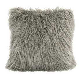 PL5003-OS-GY: HEA Mangolian Faux Fur Pillow - 18x18 Grey