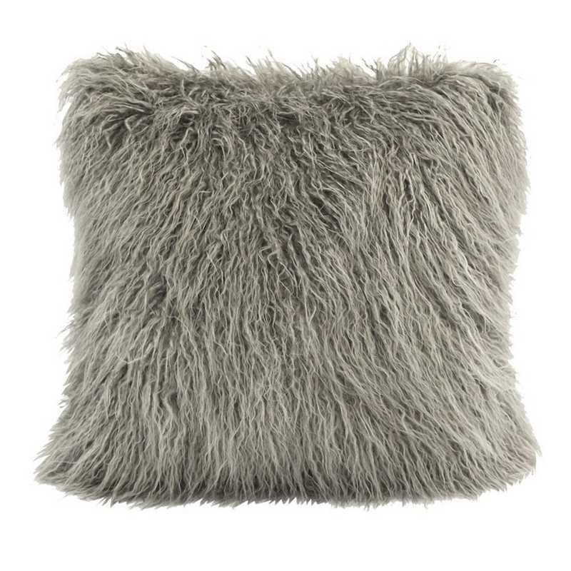 PL5003-OS-GY: HEA Mangolian Faux Fur Pillow - 18x18 Grey