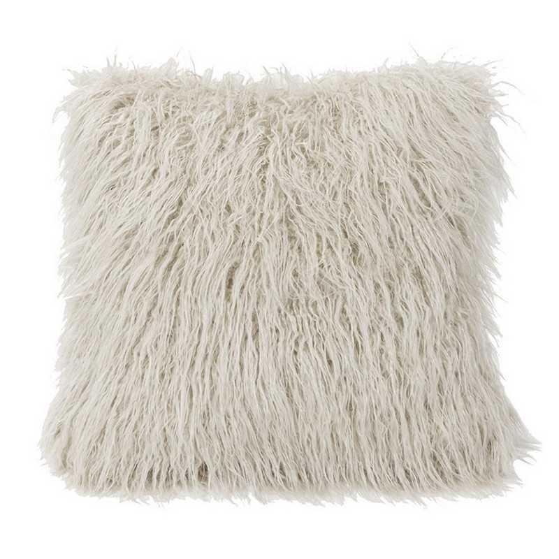 PL5003-OS-WH: HEA Mangolian Faux Fur Pillow - 18x18 White