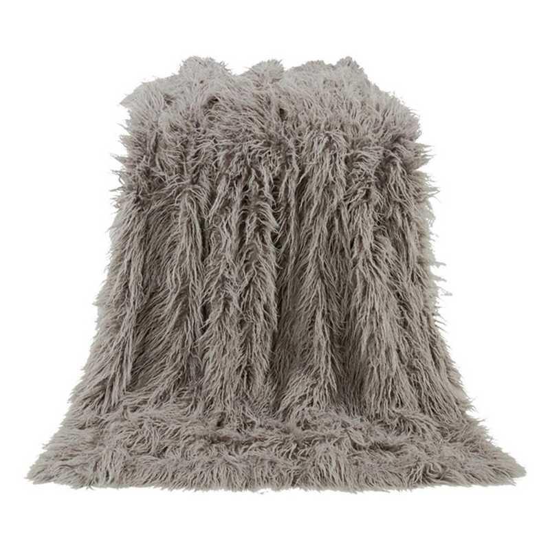 TR5003-OS-GY: HEA Mangolian Faux Fur Throw - 50X60 Grey