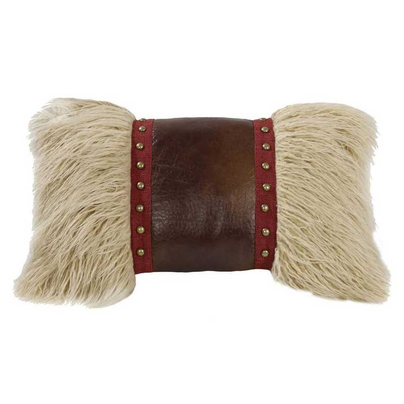 WS4066P8: HEA Mongolian fur pillow w/faux leather & stud