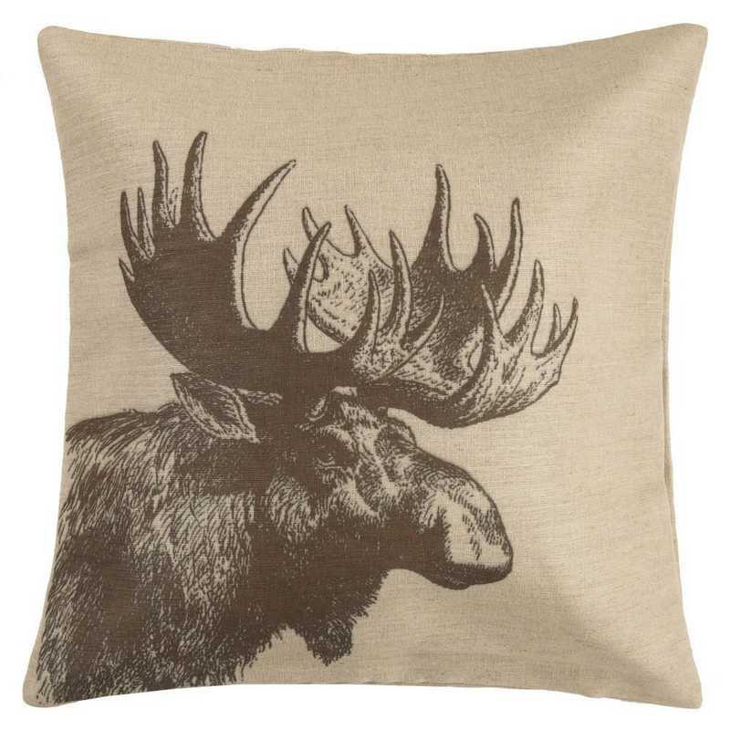 PL1807: HEA Moose Burlap Pillow - 22x22