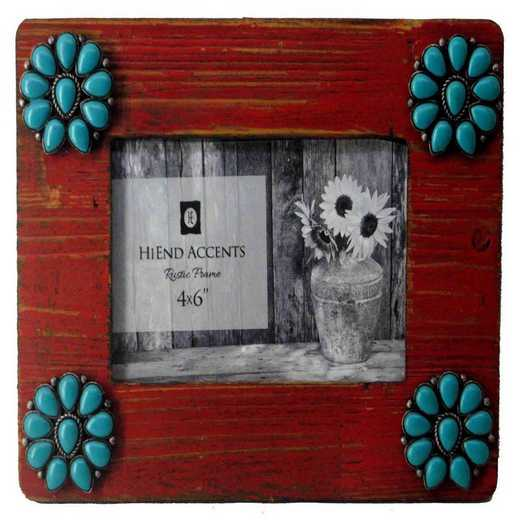 WD1708: HEA Red Picture Frame with Turquoise Blossoms - 4x6