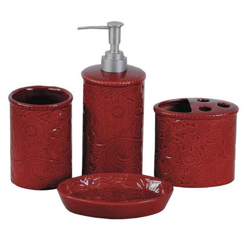 BA4001-OS-RD: HEA Savannah Bathroom Set - Red