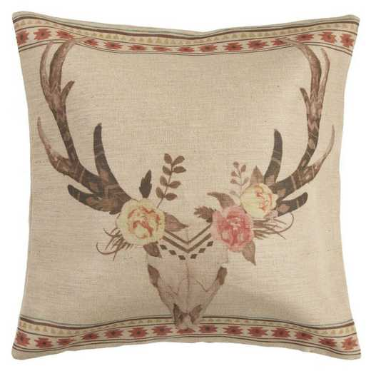 PL1812: HEA Sedona Burlap Skull Pillow - 22x22