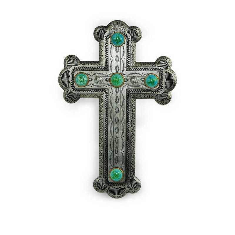 WD2707: HEA Silver Resin Cross w/ Turquoise Stones