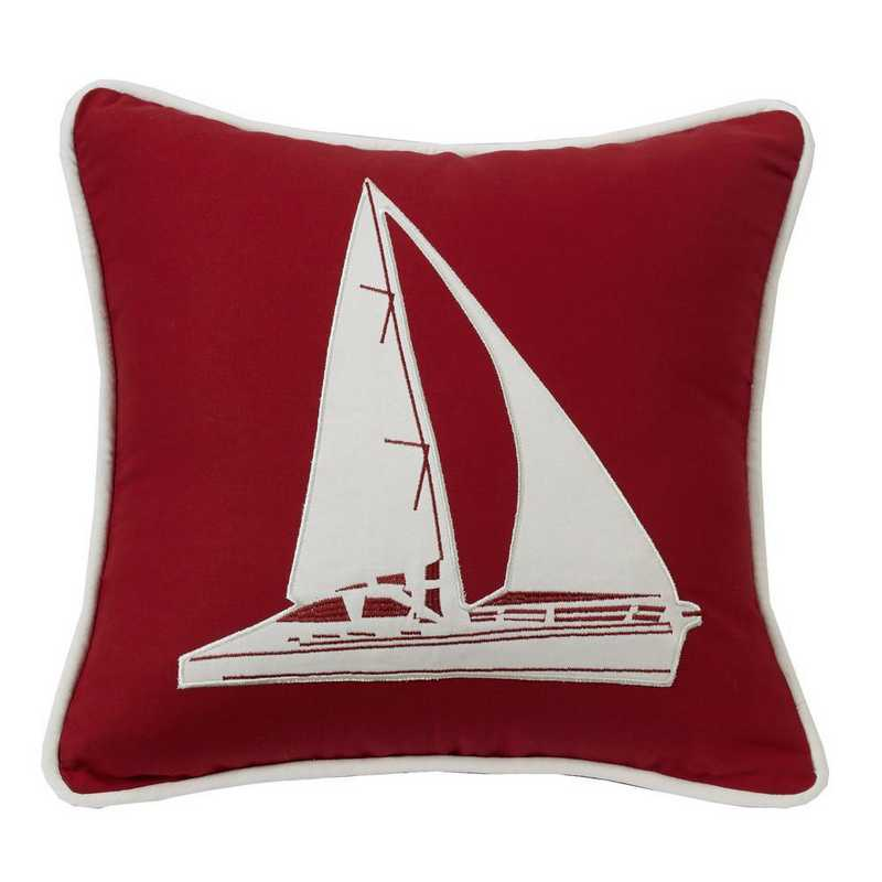 LK1682P2: HEA st. Clair Red Pillow with Sailboat - 18x18