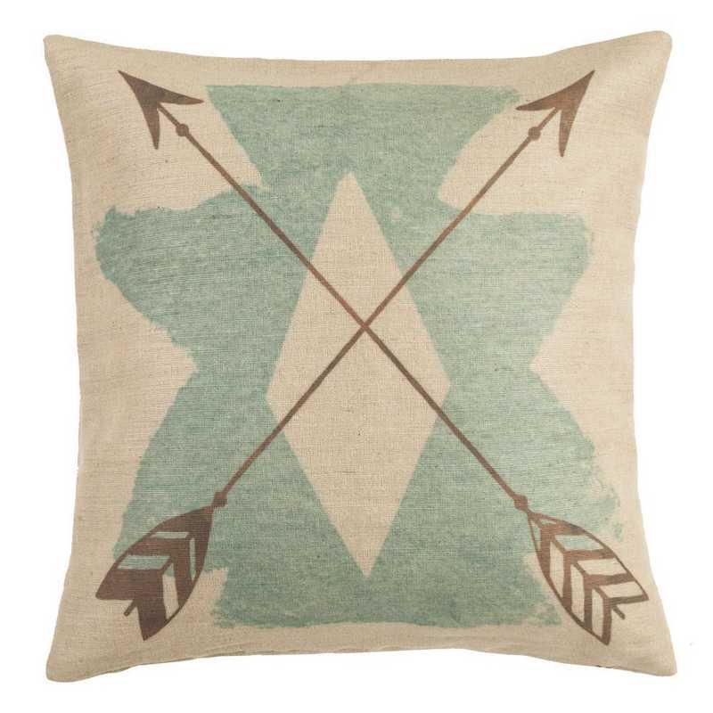 PL1814: HEA Burlap Turquoise Axtec Pillow - 18x18