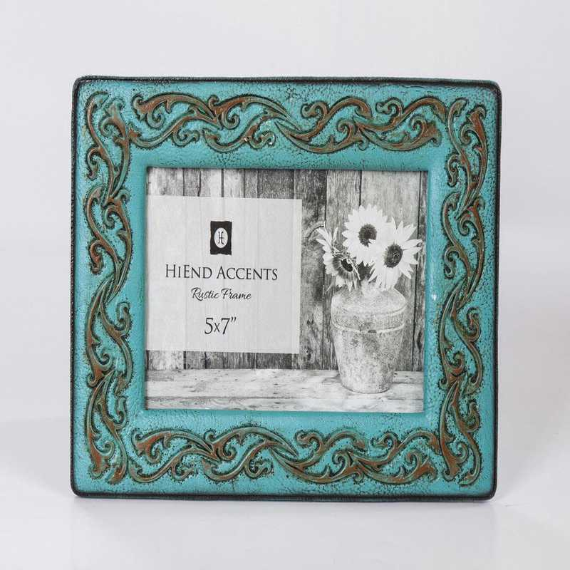 WD1704: HEA Turquoise Leather Scrolled Picture Frame - 5x7