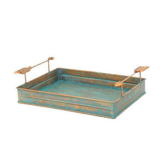 LD4003: HEA Turquoise Patina Tray with Arrow Design