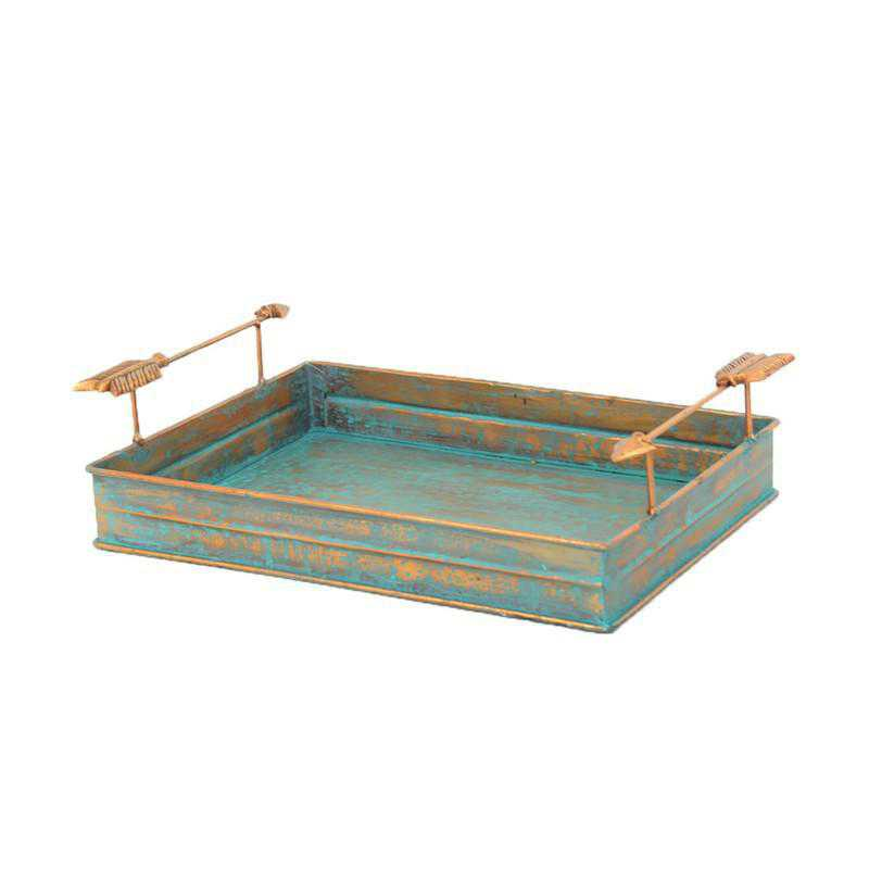 LD4003: HEA Turquoise Patina Tray with Arrow Design