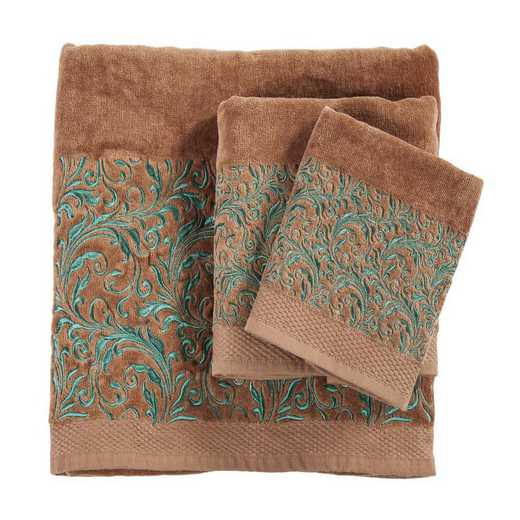 TW1762-OS-MC: HEA 3pc Wyatt Towel Set - Mocha