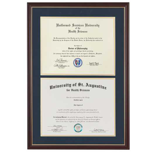 "Standard Diploma Frame- Cherry/Gold fits 8.5"" x 11"" Diploma"