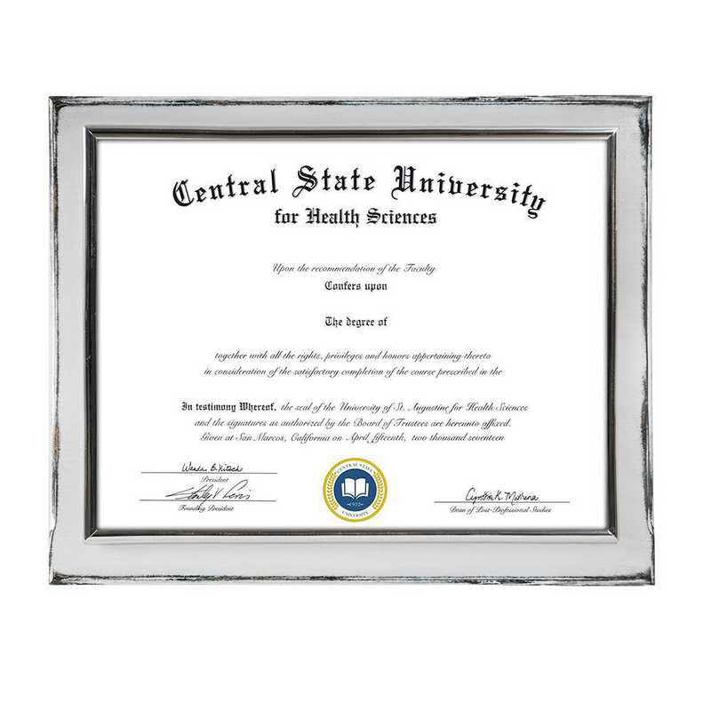 DM68-LWB4WH: Diploma Plaque Wall Mount Whitewashed-8.5X11