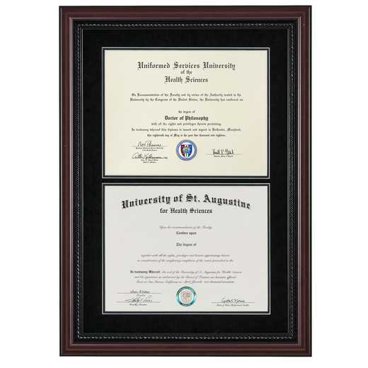 "Premium Double Diploma Frame- Rope fits 11"" x 14"" Diploma"