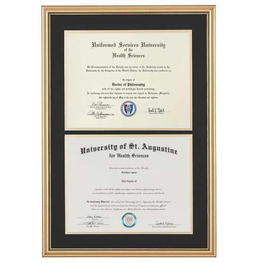 "Standard Double Diploma Frame Gold fits 8.5"" x 11"" Diploma"