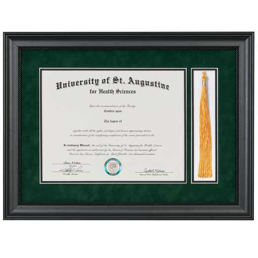"Premium Black Miami Diploma Frame with Tassel Display fits 11"" x 14"" Diploma"