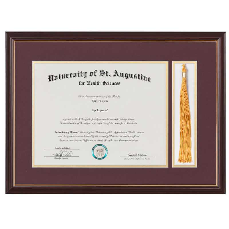 Standard Black & Gold Diploma Frame with Silver Matting & Tassel Display fits 11