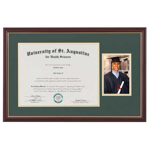 "Standard Cherry & Gold Diploma Frame with Image fits 11"" x 14"" Diploma"