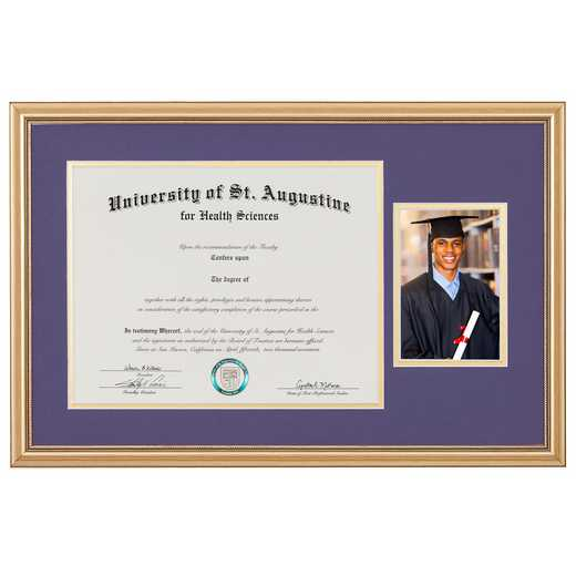 "Standard Gold Diploma Frame with Photo Display fits 11"" x 14"" Diploma"