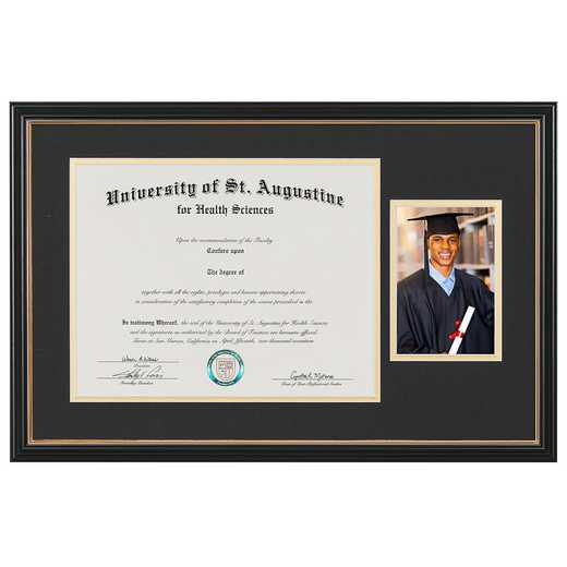 "Standard Black & Gold Diploma Frame with Photo Display fits 11"" x 14"" Diploma"