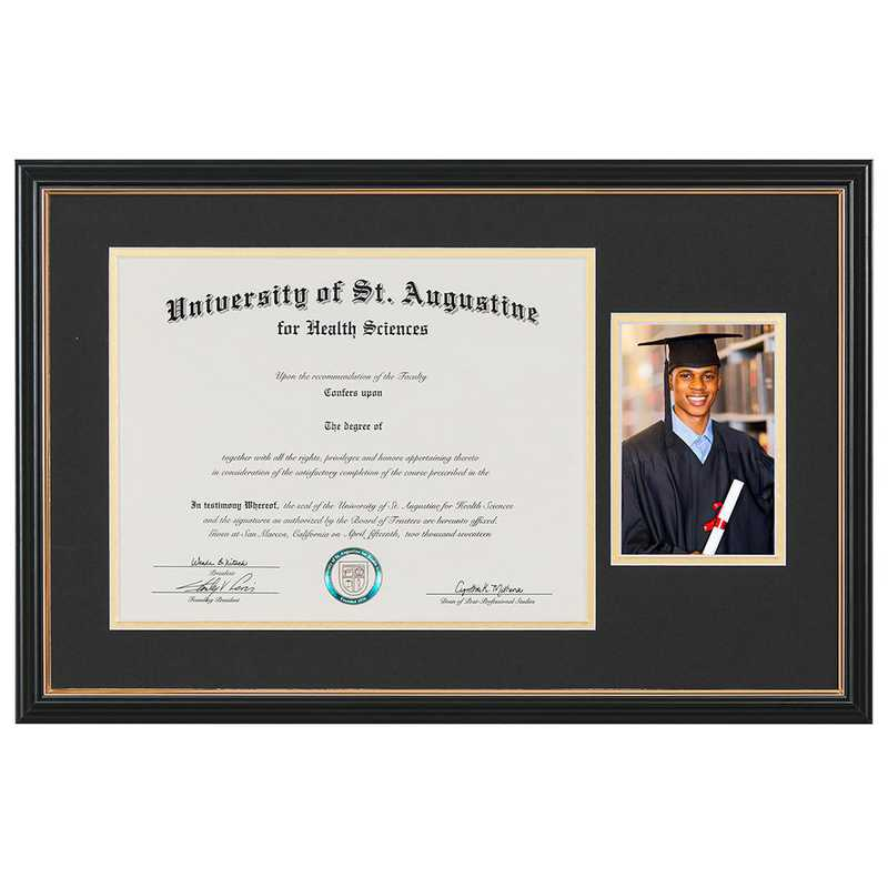 Standard Black & Gold Diploma Frame with Photo Display fits 11