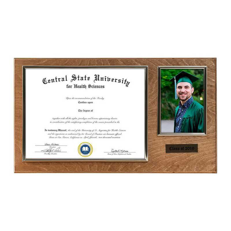 DM68-LWB5GO : Diploma Plaque Wall Mount w/4x6 Photo Golden Oak- 8.5X11