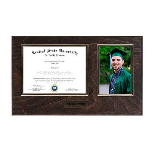 DM68-LWB3EX: Diploma Plaque Wall Mount w/4x6 Photo Expresso- 6X8