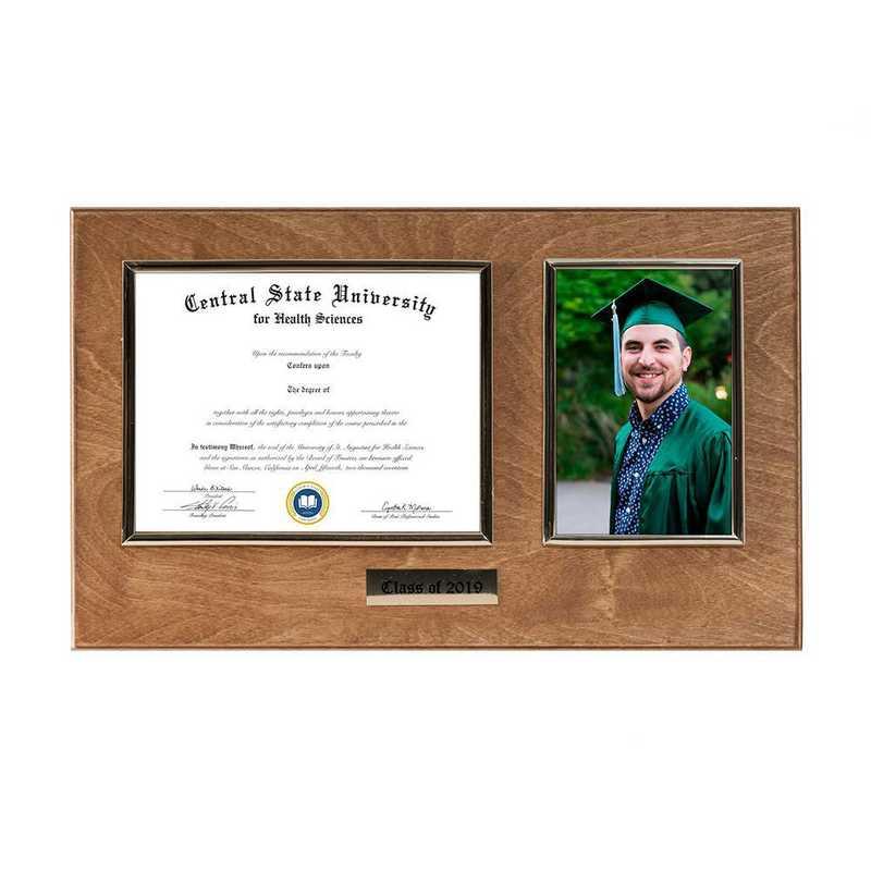 DM68-LWB3GO : Diploma Plaque Wall Mount w/4x6 Photo Golden Oak- 6X8