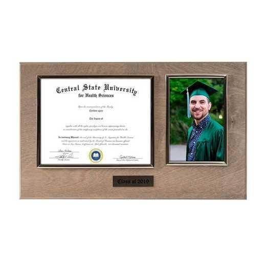 DM68-LWB3WO: Diploma Plaque Wall Mount w/4x6 Photo Weathered Oak- 6X8