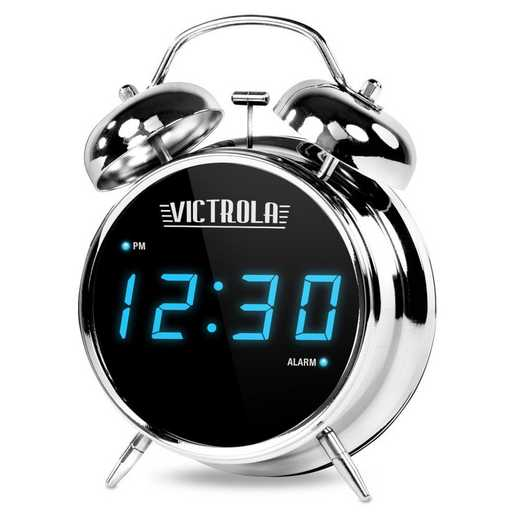 V50-500: IT Victrola Twin Bell Alarm Clock , Silver