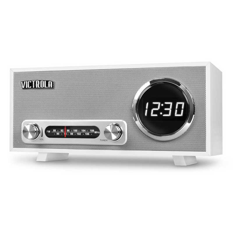 VC-100-WHT: IT Victrola BT Digital Clock Stereo and USB , White