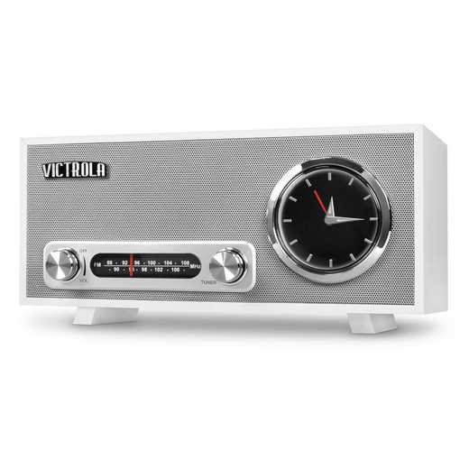 VC-150-WHT: IT Victrola BT Analog Clock and USB, White