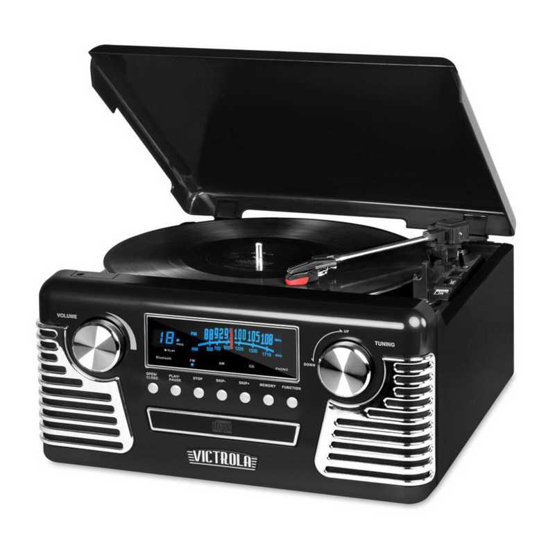 V50-200-BLK: IT Victrola Retro Record Player with BT, Black