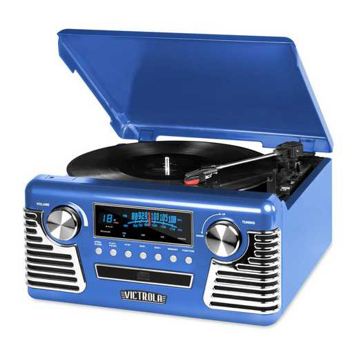 V50-200-BLU: IT Victrola Retro Record Player with BT, Blue