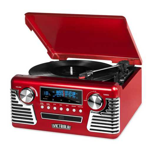 V50-200-RED: IT Victrola Retro Record Player with BT, Red