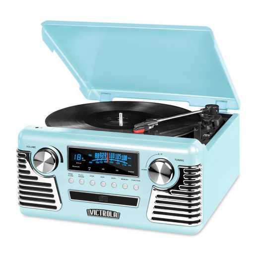 V50-200-TEL: IT Victrola Retro Record Player with BT, Teal