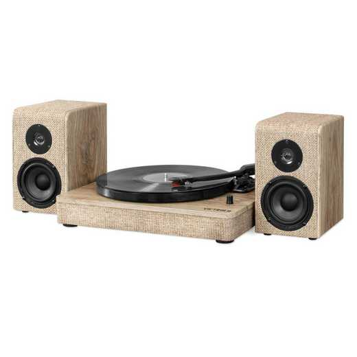 VM-130-FOT: Victrola Wood and Linen Bluetooth Record Player Turntable